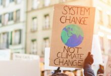 system-change-not-climate-change-sign in hands of protestor
