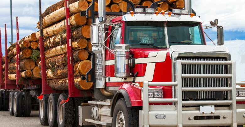 timber truck on way to rally