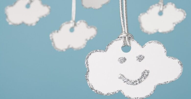 happy silver lined clouds