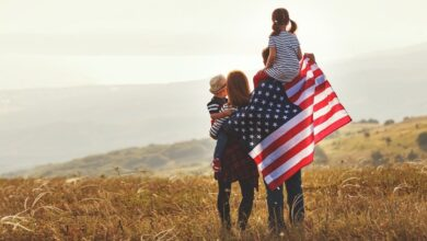 Free American Family with the US Flag