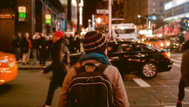 People walking around downtown